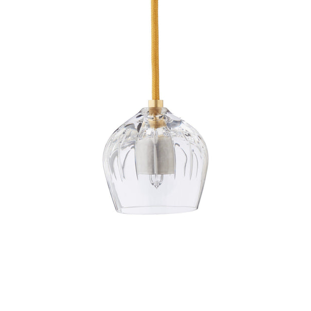 Samso pendant lamp, transparent & gold, 100% crystal