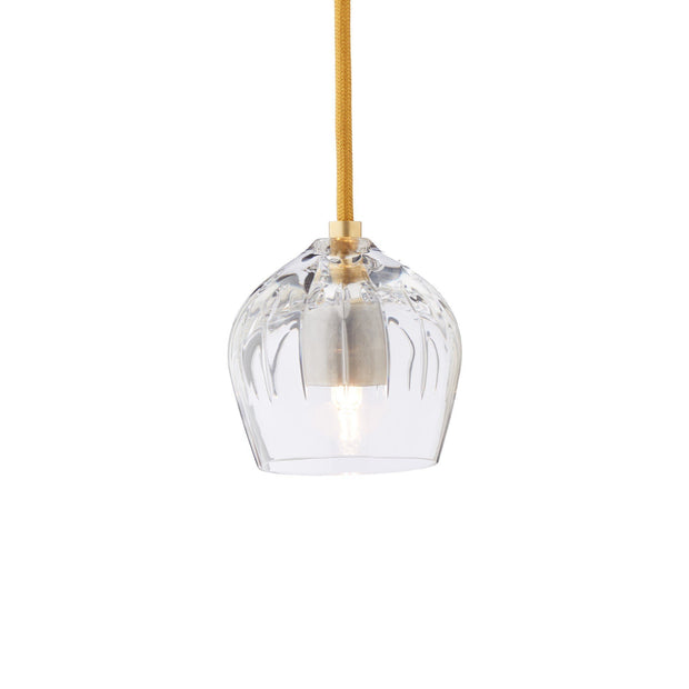 Samso pendant lamp, transparent & gold, 100% crystal | URBANARA pendant lamps