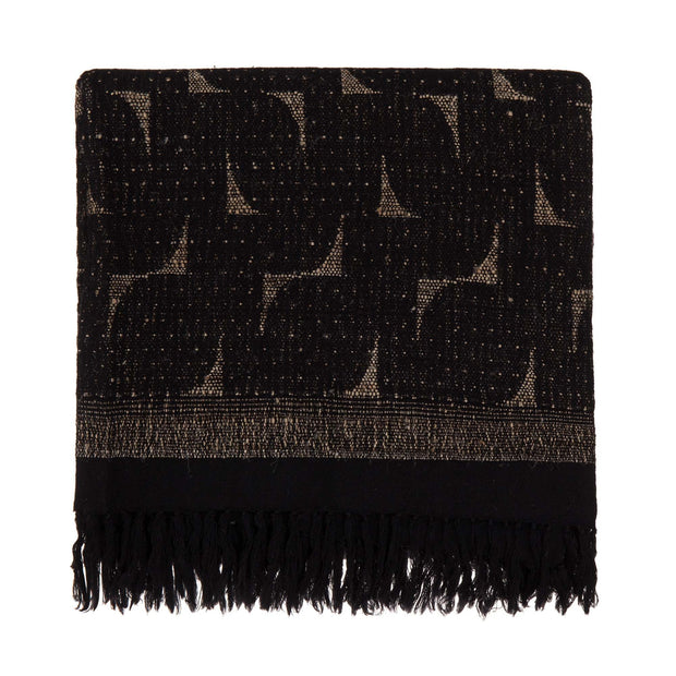 Araku blanket, natural & black, 60% wool & 40% silk