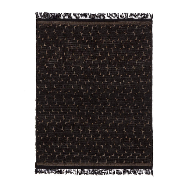 Araku blanket, natural & black, 60% wool & 40% silk | URBANARA silk blankets