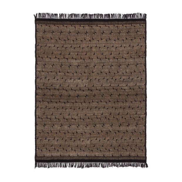 Araku blanket, natural & black, 60% wool & 40% silk |High quality homewares