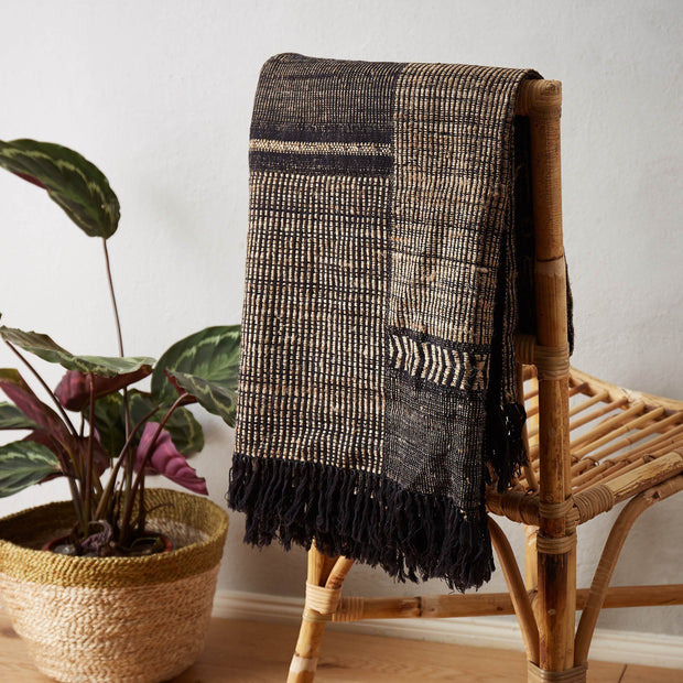 Sarni blanket in black & natural, 60% wool & 40% silk |Find the perfect silk blankets