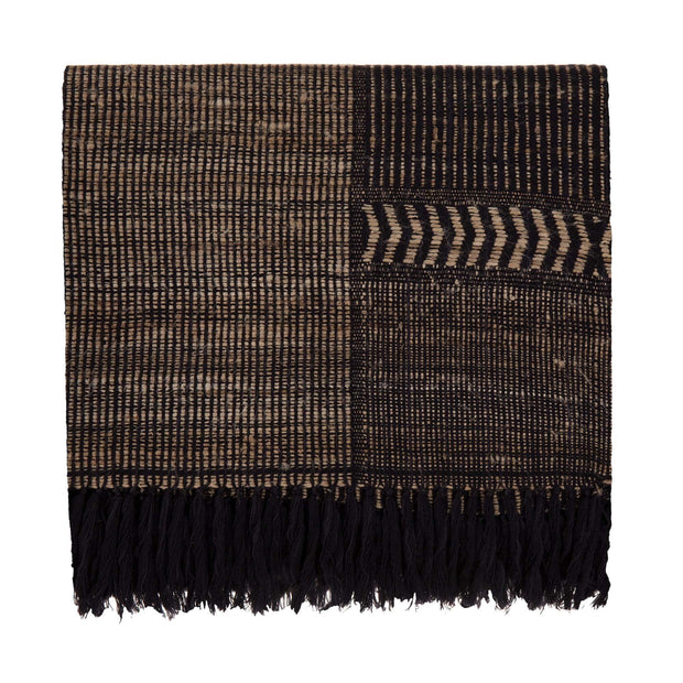 Sarni blanket, black & natural, 60% wool & 40% silk
