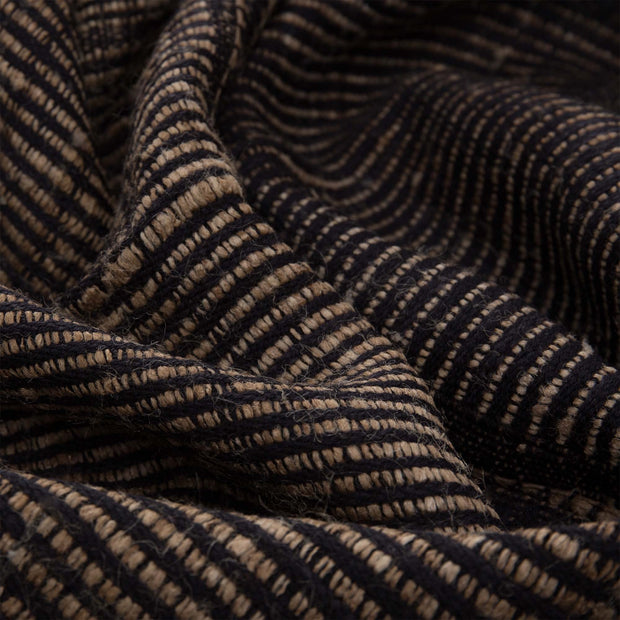 Sarni blanket, black & natural, 60% wool & 40% silk |High quality homewares