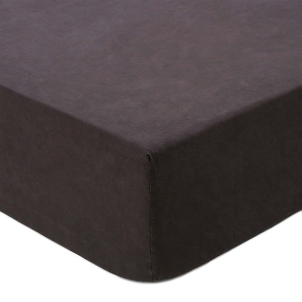 Perpignan fitted sheet, black, 100% combed cotton
