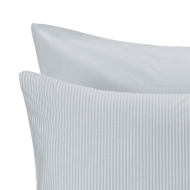 Izeda pillowcase, green & white, 100% cotton | URBANARA percale bedding