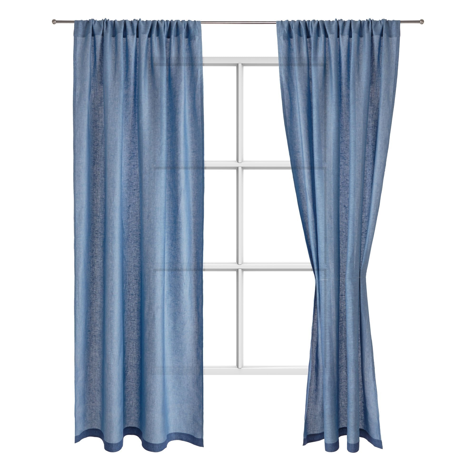 Alatri curtain, dark blue & light blue, 100% linen
