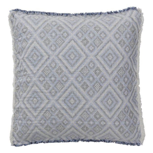 Idanha bedspread, blue & off-white & black, 59% cotton & 41% linen | URBANARA bedspreads & quilts