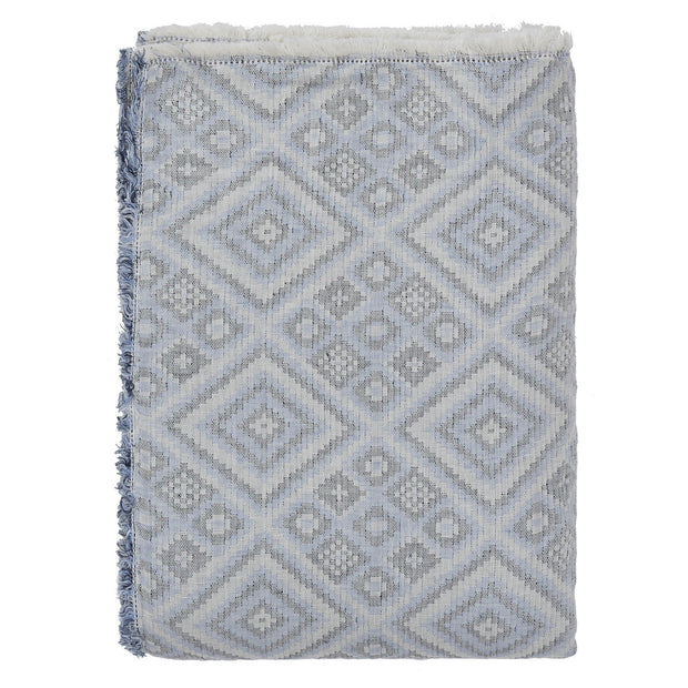 Idanha bedspread, blue & off-white & black, 59% cotton & 41% linen