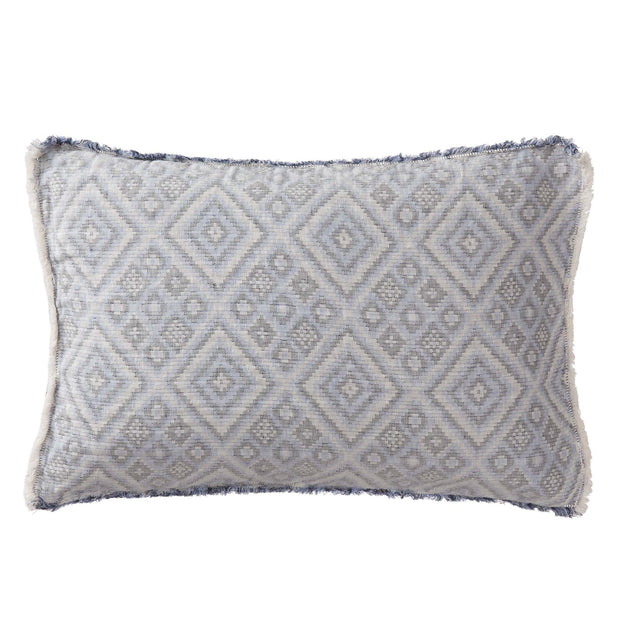 Idanha bedspread, blue & off-white & black, 59% cotton & 41% linen |High quality homewares
