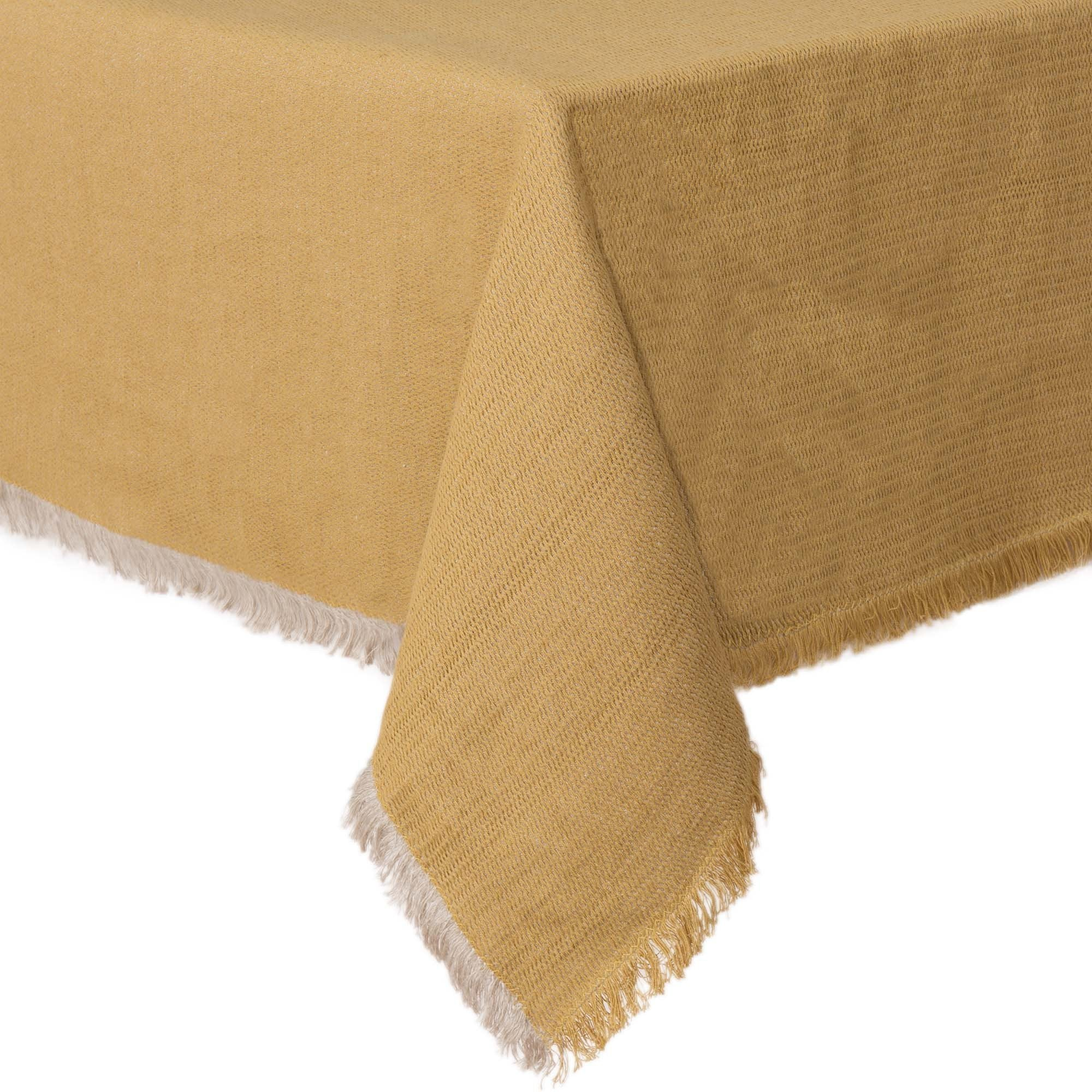 Alkas table cloth, ochre & stone grey, 50% linen & 50% cotton
