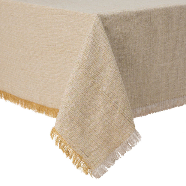 Alkas table cloth, ochre & stone grey, 50% linen & 50% cotton | URBANARA tablecloths