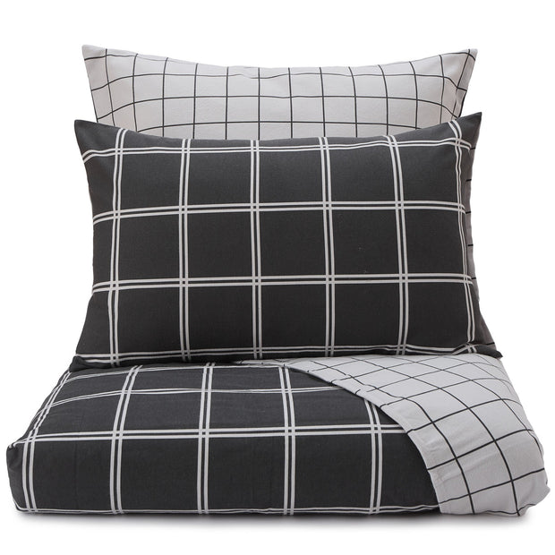 Brelade pillowcase, charcoal & light grey, 100% cotton