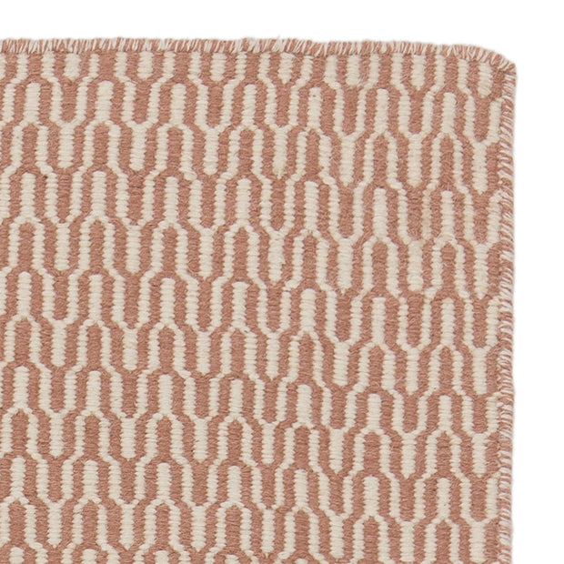 Overod rug, dusty pink & off-white, 100% new wool & 50% cotton