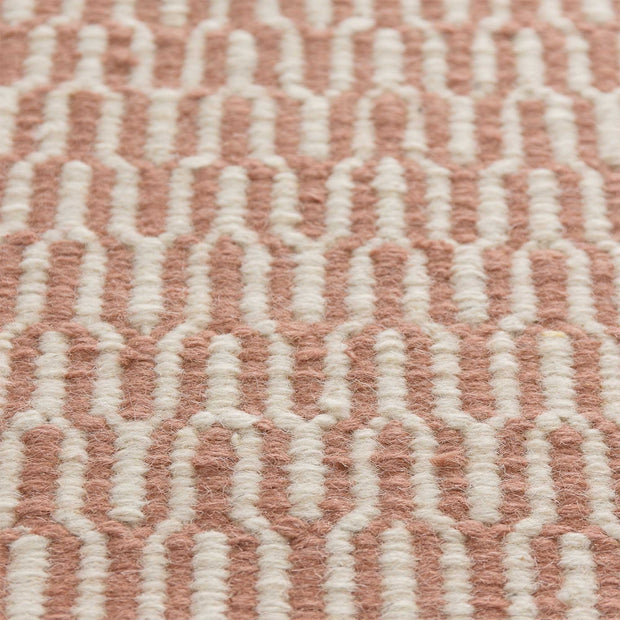 Overod rug, dusty pink & off-white, 100% new wool & 50% cotton |High quality homewares