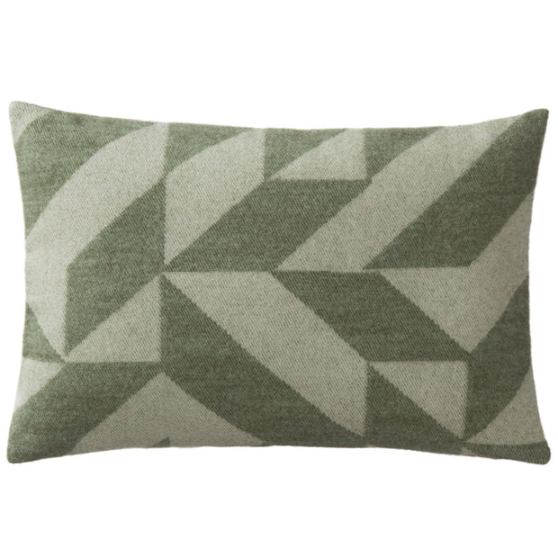 Farum cushion cover, green & cream, 100% merino wool