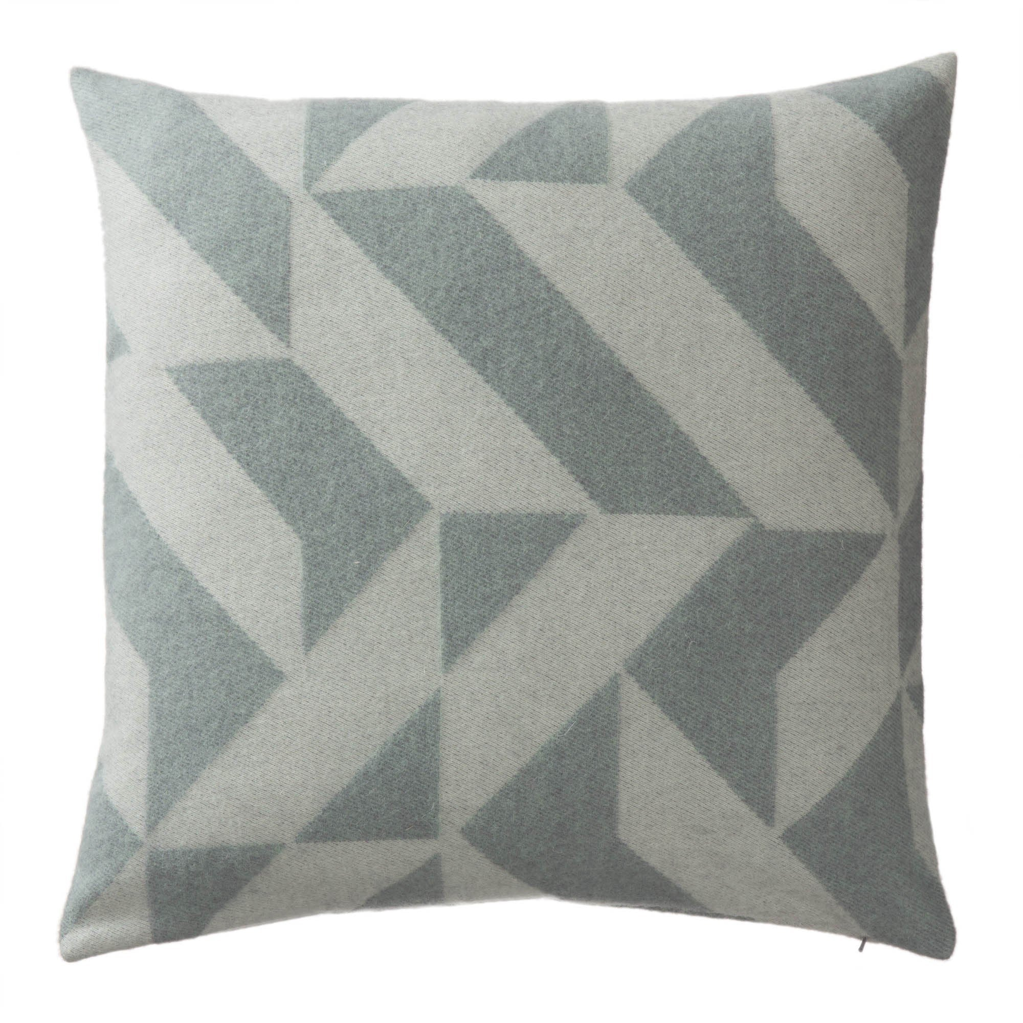 Farum cushion cover, grey blue & cream, 100% merino wool