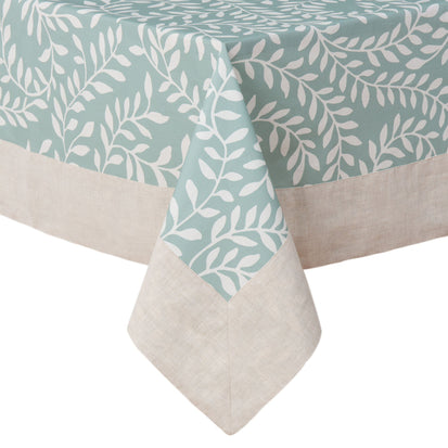 Eixo table cloth, grey green & white & natural, 100% cotton & 100% linen