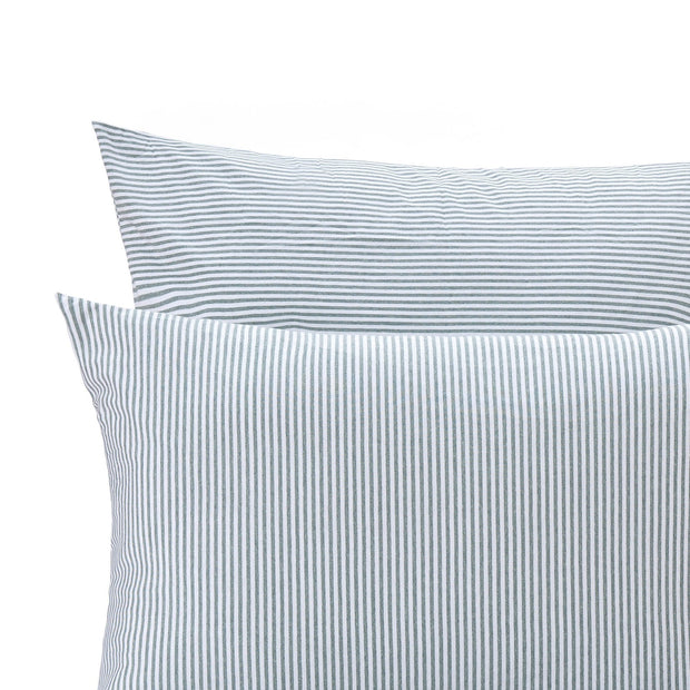 Ourique pillowcase, emerald melange & white, 100% cotton | URBANARA jersey bedding