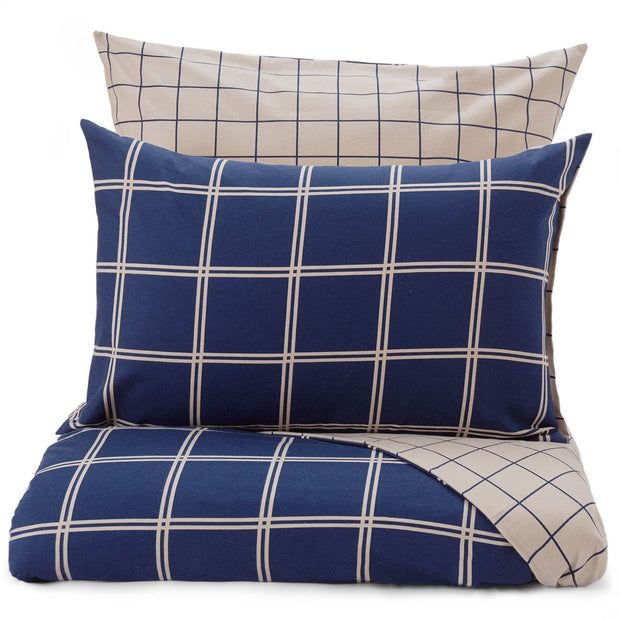 Brelade duvet cover, dark blue & beige, 100% cotton