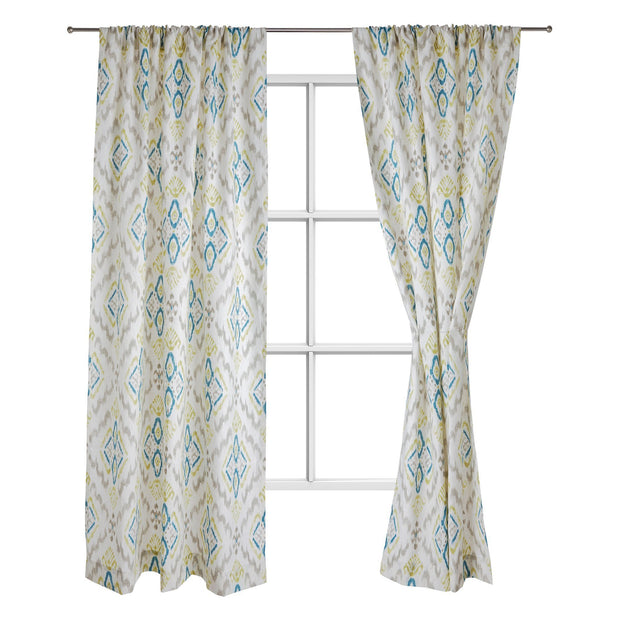 Suide curtain, natural white & turquoise & green, 65% linen & 35% polyester