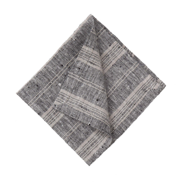 Lusis table cloth, black & natural, 100% linen |High quality homewares