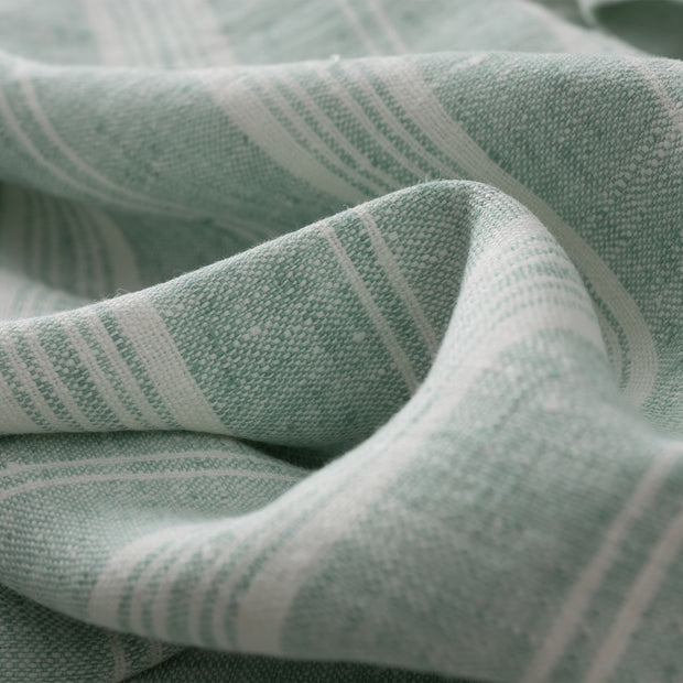 Lusis table runner, mint & white, 100% linen | URBANARA table runners