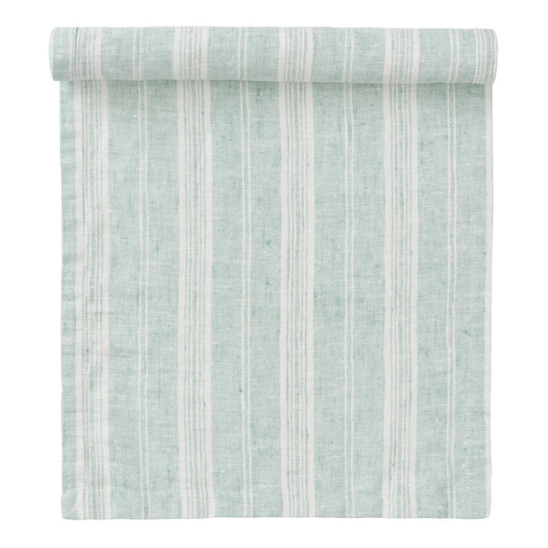Lusis table runner, mint & white, 100% linen
