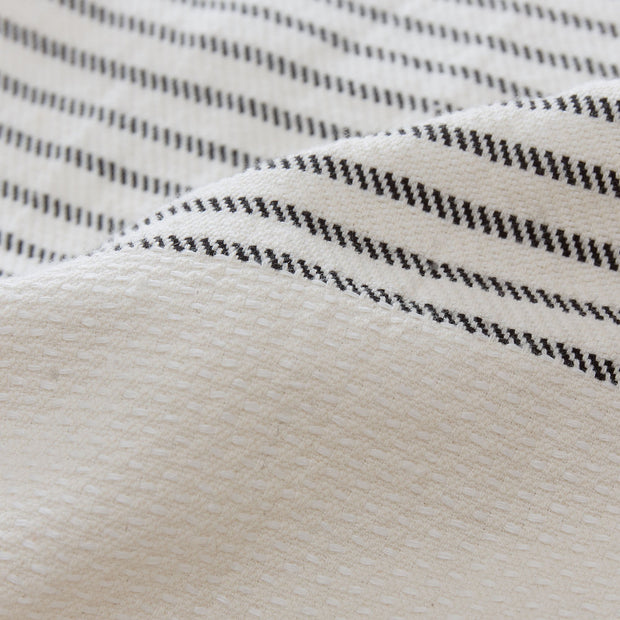 Kadan bedspread, cream & black, 50% linen & 50% cotton |High quality homewares