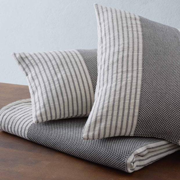 Kadan cushion cover, black & cream, 50% linen & 50% cotton | URBANARA cushion covers