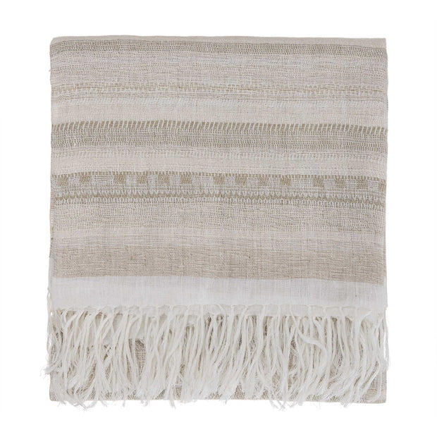 Bundi blanket, clay & cream, 60% linen & 40% silk