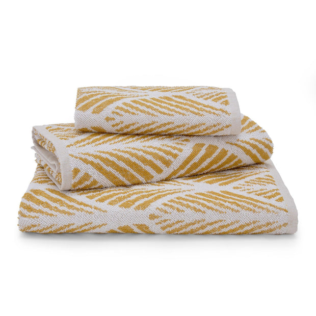 Coimbra hand towel, mustard & white, 100% cotton