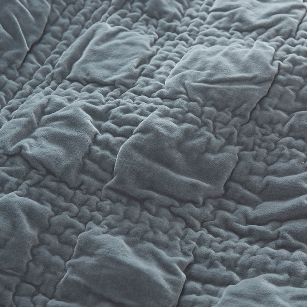 Samana bedspread, green grey, 100% cotton | URBANARA bedspreads & quilts