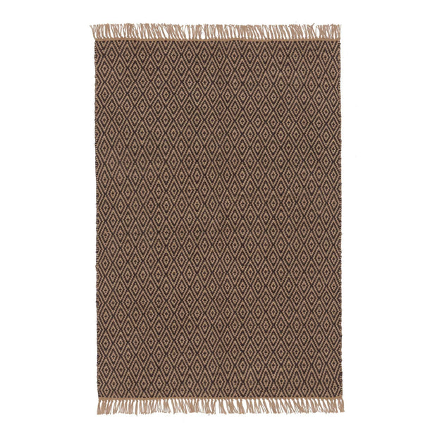 Dasheri rug, charcoal & natural, 100% jute | URBANARA jute rugs