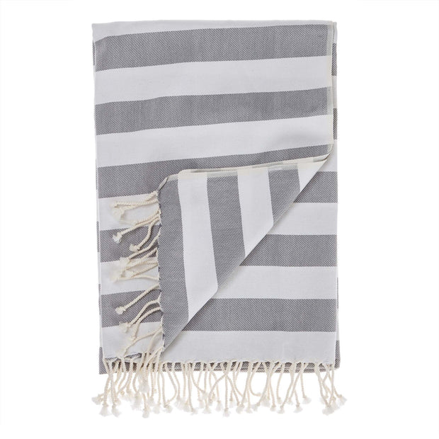 Filiz hammam towel, grey & white, 100% cotton