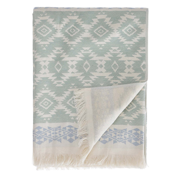 Gilao beach towel, natural white & light grey green & light grey blue, 100% cotton | URBANARA beach towels