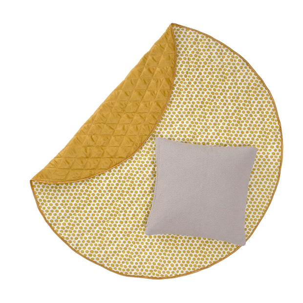 Luo picnic blanket, mustard & natural white & black, 50% cotton & 50% polyester