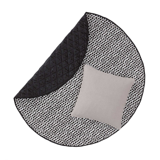 Luo picnic blanket, black & natural white & black, 50% cotton & 50% polyester