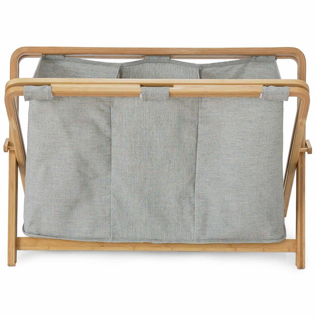 Champa laundry basket, black & white & brown, 75% polyester & 25% cotton