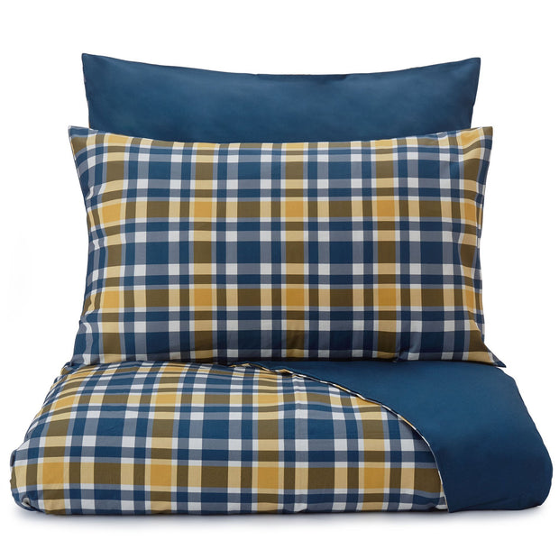 Cabril duvet cover, dark blue & mustard & white, 100% cotton