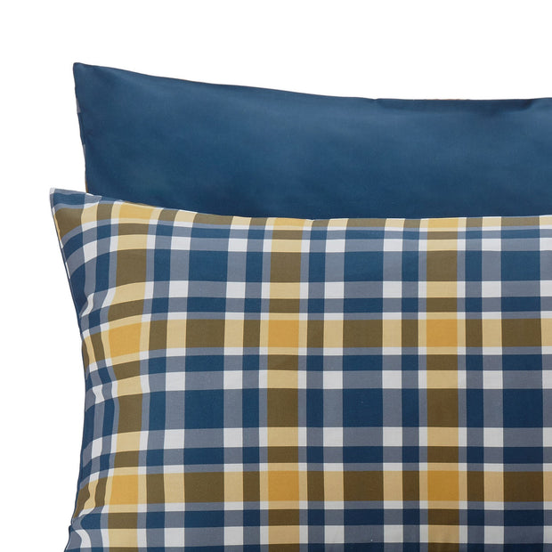 Cabril duvet cover, dark blue & mustard & white, 100% cotton | URBANARA cotton bedding