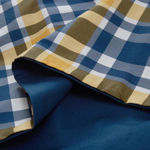 Cabril duvet cover, dark blue & mustard & white, 100% cotton |High quality homewares