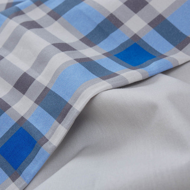 Cabril duvet cover, natural & blue & black, 100% cotton | URBANARA cotton bedding