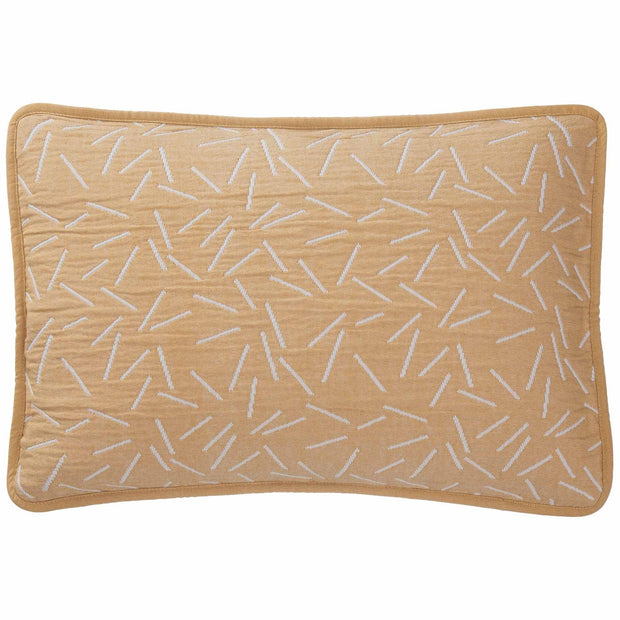 Alcains cushion cover, mustard & light grey, 80% cotton & 20% polyester