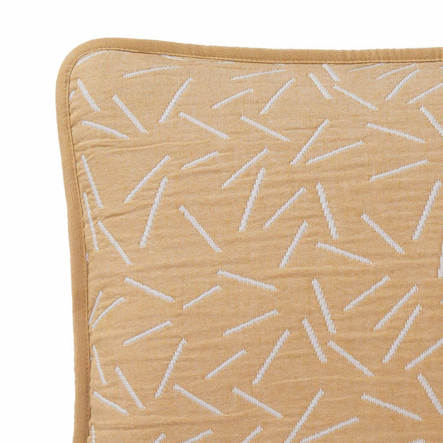 Alcains cushion cover, mustard & light grey, 80% cotton & 20% polyester | URBANARA cushion covers