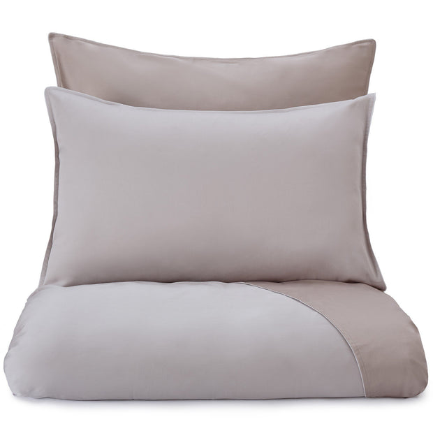 Catania pillowcase, light stone grey & sandstone & light grey, 100% egyptian cotton
