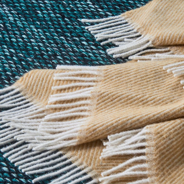 Gotland Wool Blanket mustard & cream, 100% new wool | High quality homewares