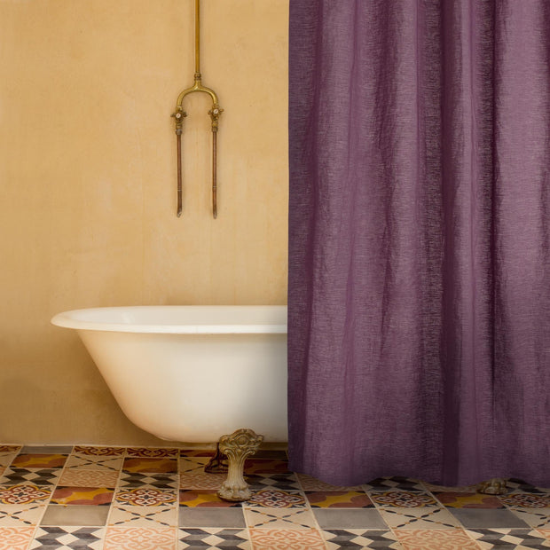 Lagoa shower curtain in aubergine, 100% linen |Find the perfect bathroom accessories
