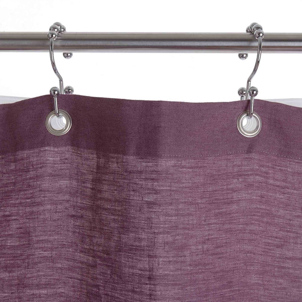 Lagoa shower curtain, aubergine, 100% linen | URBANARA bathroom accessories