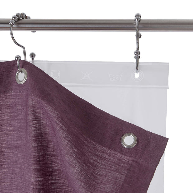 Lagoa shower curtain, aubergine, 100% linen |High quality homewares